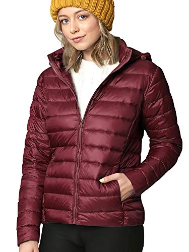 LL WJC2144 Women's Ultra Light Weight Packable Down Jacket with Removable Hoodie XXL Wine