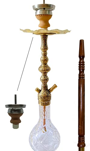 2Brothers Orientalische Wasserpfeifen Shisha Traditionell Hookah Kaminkopf Komplettset Kohlenzange und Zubehör Messing Gold-Look 1 Schlauch Lederschlauch mit Walnussholz (Einsteck Tonkopf)