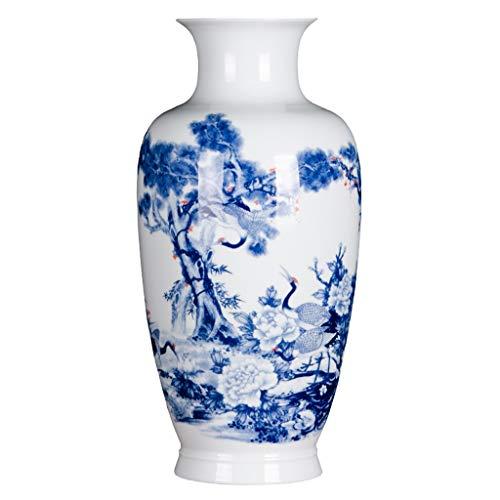 Cxp Boetieks Stijl Chinese Handgemaakte Keramische Handgeschilderde Blauw-wit Porselein Vloer Grote Vaas Dennenhout Jaar Woondecoratie Accessoires Elegant