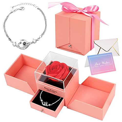 Yodeace - Rosa eterna, regalo para mujer rosa con collar de delfín, regalo de moda para regalo de fiesta de la madre, regalo de cumpleaños o mujer