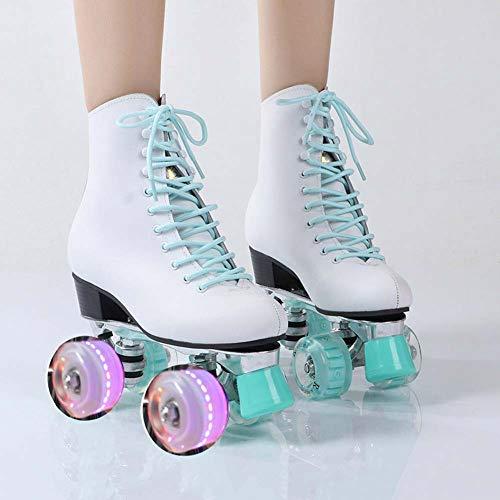 Disco Roller, Classic Roller, Rollschuhe Für Kinder, Jugendliche Und Erwachsene, Premium-Leder-Rollschuh Für Damen Mit Lederfutter Quad-Skates,40