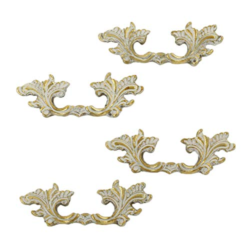 Koyal Wholesale Antique Shabby White French Provincial 2.5 inch Centers 4-Pack Vintage Cabinet Pulls, Knobs, Decorative Drawer Hardware Handles for Kitchen Cupboard Doors, Bathroom Vanity, Bedroom