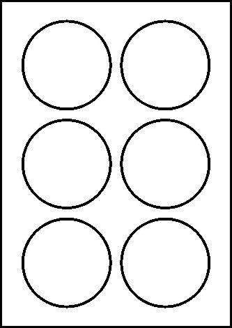 60 Etiketten selbstklebend rund 80 mm weiß permanent klebend auf Bogen A4 (10 Bögen x 6 Etik.)