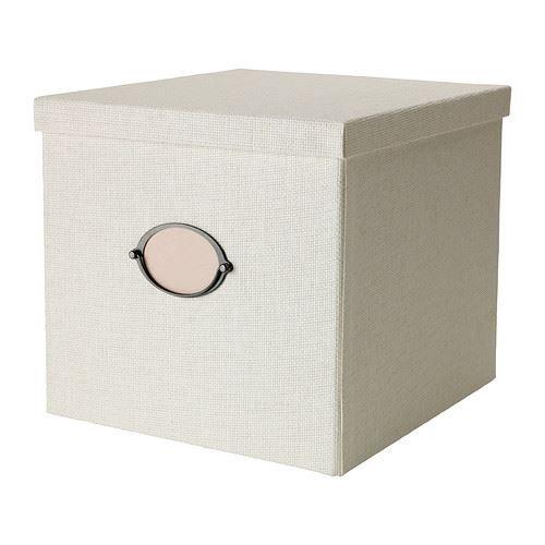 Caja de almacenamiento con tapa KVARNVIK -, blanco