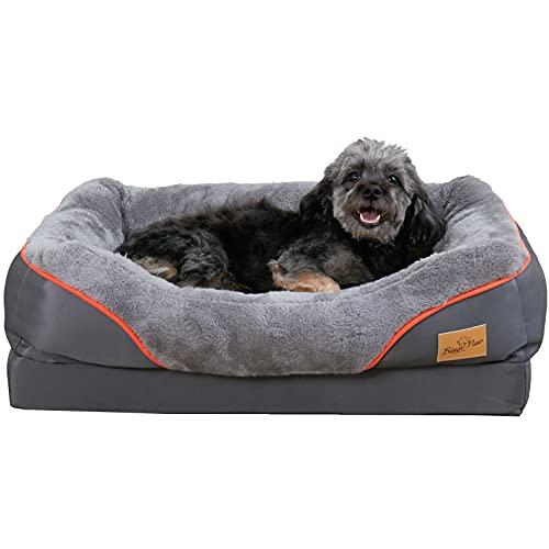BingoPaw Cama de Espuma Viscoelástica para Perros 85 x 68 x 21cm Sofá Acolchada Suave y Cómoda para Mascotas con Funda Impermeable y Lavable