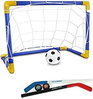 2 in 1 Outdoor/Indoor Plastic Soccer Box nets Kids Children Sports Soccer/Ice Hockey Goals with balls and Pump Gift