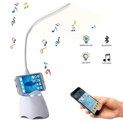 Salandens Lámpara LED de escritorio con bocina Bluetooth integrada y puerto de carga USB. Lámpara de escritorio ideal para el cuidado de los ojos, cuello de cisne flexible de 360...