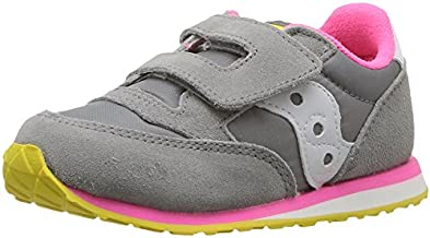 Saucony Boy's Baby Jazz Hook & Loop Sneaker, Grey/Pink, 10 M US Toddler