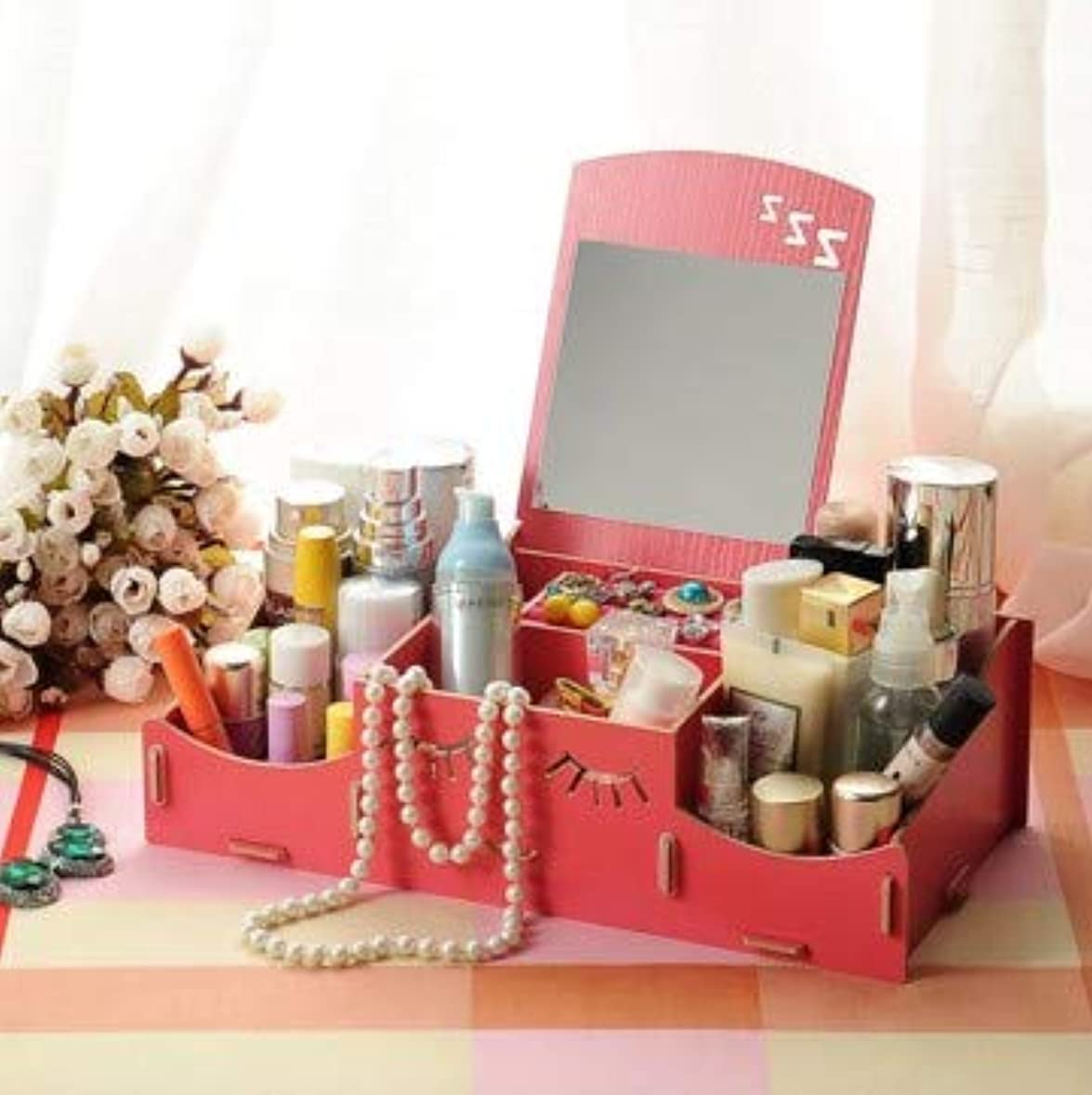 困惑ブリード第二Kth スマイリー木製クリエイティブ収納ボックス手作りデスクトップミラー化粧品収納ボックス化粧品収納ボックス (Color : Watermelon red)
