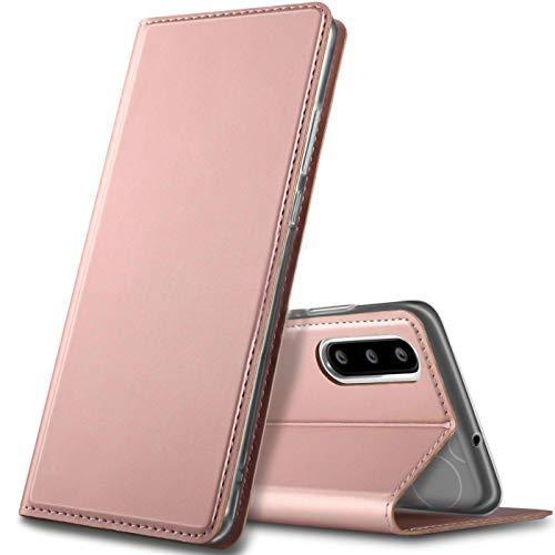 Verco Handyhülle kompatibel mit P30, Premium Handy Flip Cover für Huawei P30 Hülle [integr. Magnet] Hülle Tasche, Rosegold