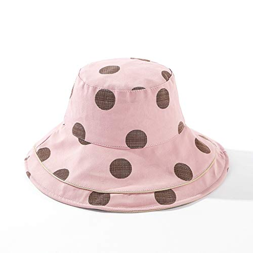 XZzry Spring And Summer Fisherman Hat Female Polka Dot Fake Double-brimmed Hat Fashion Wild Basin Hat Big Edge Sun Hat (Color : Pink)