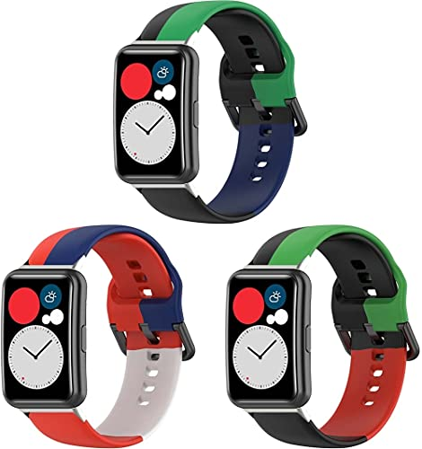 Chainfo Compatible con Huawei Watch Fit/Huawei Fit Correa de Reloj, Banda de Reemplazo Silicona Suave Sports Pulsera (3-Pack I)