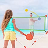 AMZFDC Portable Badminton Net Set, 2 in 1 Racket Game Toy Set, Family Kids Badminton Tennis Net for Boys Girls Outdoor Play at The Beach Lawn Backyard