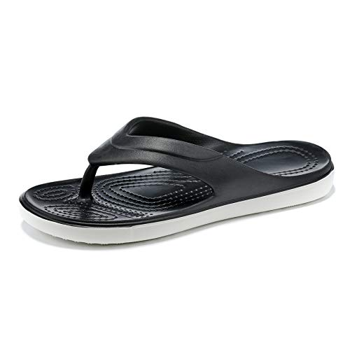Women's and Girl's Beach & Water Shoes Sport Flip Flops Comfort Casual Outdoor Thong Sandals Arch Support Slip Resistant (Black, 6 UK, 6)