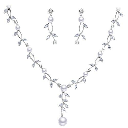 BiBeary Zirkonia CZ elegant Simulierte Perlen V-Form Full Pendant Hals Blumes Blätter Halskette Ohrringe Schmuck Set für Damen Silber-Ton