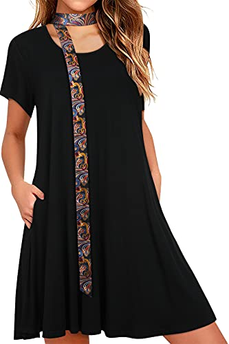 Vestido Negro Informal de Verano para Mujer con Bolsillos Vestidos Holgados y...