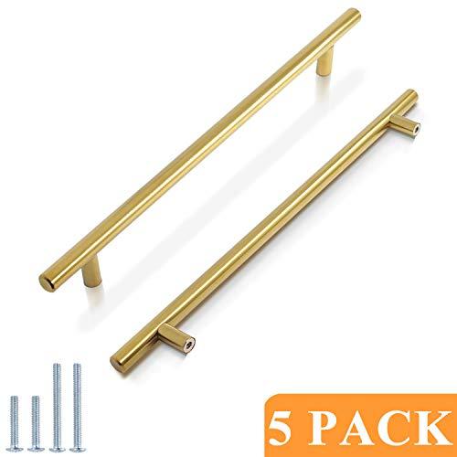 Probrico 10' Hole Centers Brushed Brass Kitchen Cabinet Euro Bar Pulls Gold Bathroom Drawer Handles furniture Dresser Golden Bar Pulls Set(5 Pack)