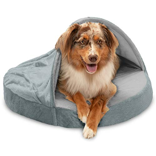 Furhaven Pet Dog Bed - Orthopedic Round Cuddle Nest Micro Velvet Snuggery Blanket Burrow Pet Bed with Removable Cover for Dogs and Cats, Silver, 26-Inch