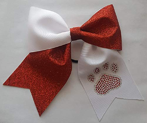 White Red Glitter with We OFFer at cheap prices Paw Hair Print Rhinestones NEW before selling ☆ Bow
