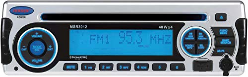 Jensen MSR3012 AM FM CD USB iPod & SiriusXM Satellite Ready Marine Stereo w/ CD Player, 160W (4x40W), Compatible with iPod/iPhone through Front USB Jack, Front AUX In, UV and Water-Resistant (Renewed)