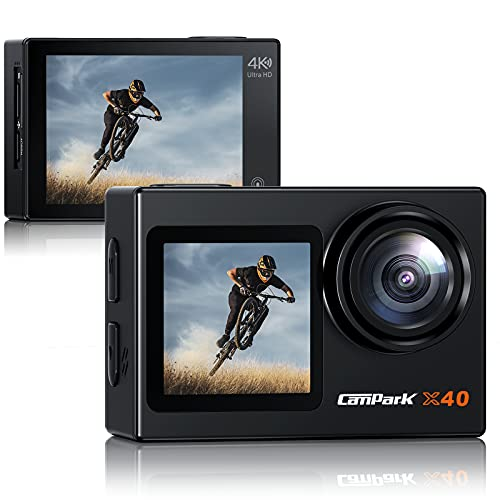 Campark Action Camera 4K 20MP Dual Screen WiFi Vlogging Camera with Touch Screen, EIS, Sony Sensor, Remote Control, 131 Feet Underwater Waterproof Camera with 2 Batteries and Mounting Kits
