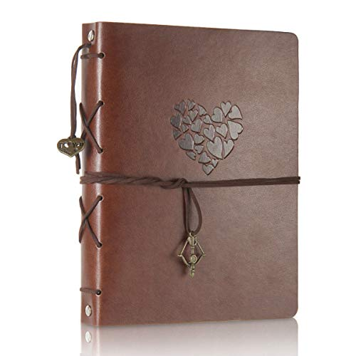 ThxMadam Scrapbook Leather Photo Album Guest Book DIY Memories Book with 60 Black Pages Present for Mother's Day Anniversary Day Birthday Christmas Gift for Wife Mum Daughter Girlfriend,Love M
