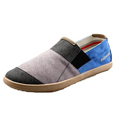Zapatos de Lona para Hombre Patchwork Slip-On Low-Top Zapatos Casuales Ligeros Mocasines Planos Antideslizantes de Moda