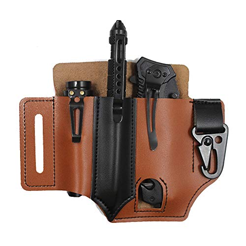 EDC Leather Pocket Pouch, Multi-Tool Sheath Pocket Organizer Holder, Everyday Carry Organizers Belt for Pen Flashlight Tools Outdoor Camping (C)