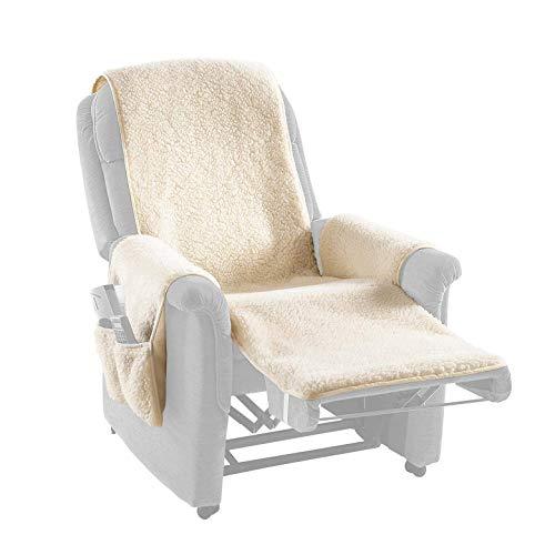K&N Schurwolle Schurwoll-Sesselschoner, beige, Sesselschoner, Sesselüberwurf zum Schutz des Originalbezuges, Sesselbezug, Schurwolle