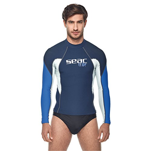 SEAC Hombre RAA Long EVO Uomo Rash Guard de protección UV Camiseta para Buceo y natación Manga Larga, Hombre, 1550002000160A, Azul/Azul Claro, XXXX-Large