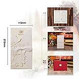 ERFHJ 1 Muestra de invitación de Boda con Corte láser de Platino Personalizada Personalizable imprimible, decoración de Boda con sobre de Cinta, One Set White, 113x215 mm