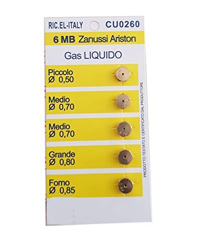 Ersatzdüsen für Gasherde, 5 Düsen, kompatibel mit Ariston Zanussi (6 MB, Gas Flüssiggas)