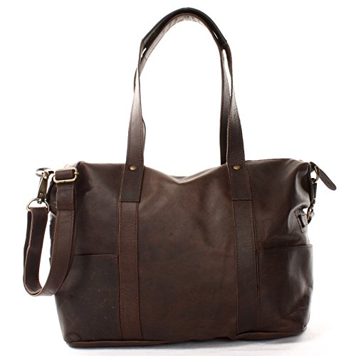 LECONI Shopper Vintage-Look Damen Henkeltasche Schultertasche Echt-Leder Natur Damentasche Ledertasche Umhängetasche Handtasche Leder, Dunkelbraun - Waxy, L
