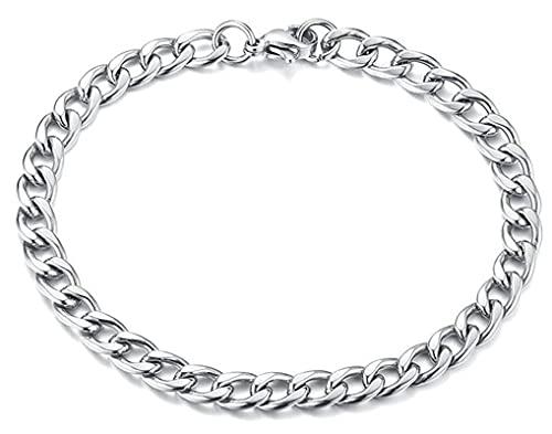Epinki Armband, Kette Gold Armband Herren in Titan Stahl, für Ihn - Herren-Schmuck Männer, Silber, 21CM