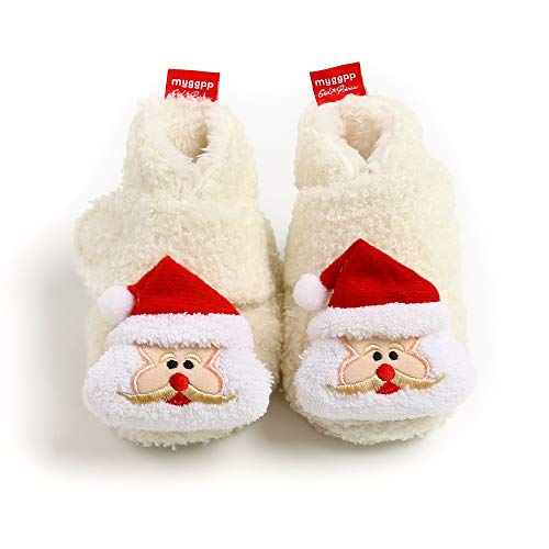 BiBeGoi Infant Baby Girls Fleece Christmas Booties Lovely Cartoon Santa Animal Elk Snowflakes Candy Classic Holiday Decoration Bowknot and Gift Shoes