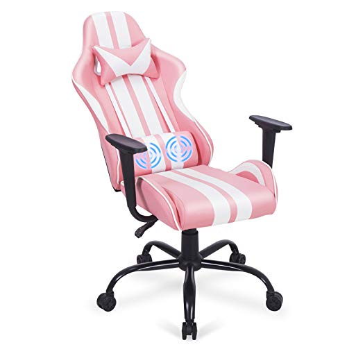Ferghana Pink Gaming Chair,Computer Game Chair,Massage Gaming Chair with Lumbar Support,Video Game Chairs for Adults Teens for Gaming, Streaming,Podcasting(Shero Pink)