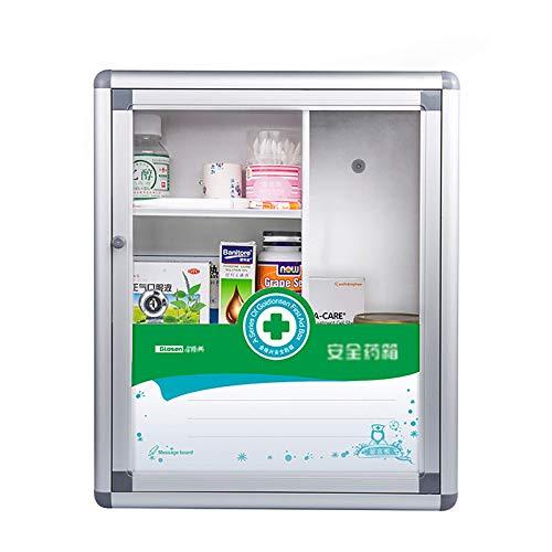 ZCG Armario de medicina portátil para montar en la pared, caja organizadora de almacenamiento multifuncional, con cerradura segura para niños y puerta de cristal transparente (tamaño: 35 x 14 x 42 cm)