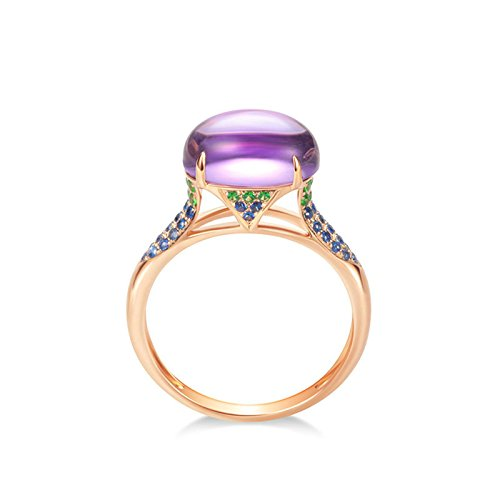 DOLOVE 18K Rose Gold Rings for Women Clearance 3.34ct Amethyst Ring Gold Engagement Ring Vintage Real Diamond Ring Size S 1/2