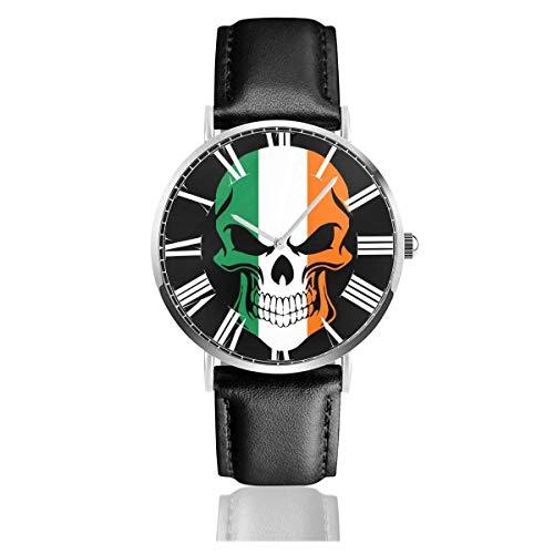 Ierland Ierse Vlag Cool Skull Horloge Casual Zwart Lederen Band Polshorloges voor Mannen Scratch Proof Man