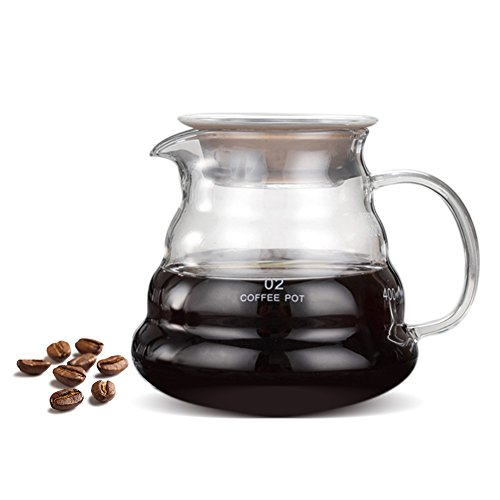 Cafetera, 500 ml de vidrio espesado Resistente al calor Cafetera Tetera para goteo con banda de silicona Olla para goteo de café para el hogar, bar, café, restaurante, etc.