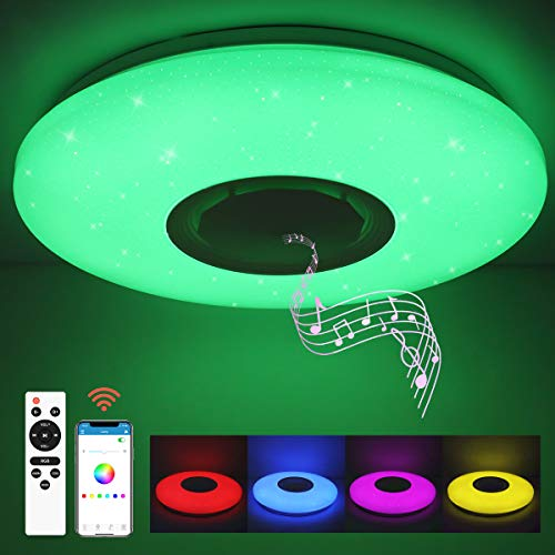 SHILOOK Led Deckenleuchte mit Bluetooth Lautsprecher, Dimmbar Deckenlampe Farbwechsel mit Fernbedienung und APP-Steuerung, 24W 3000-6500K für Schlafzimmer Küche Kinderzimmer Wohnzimmer, Rund 40cm