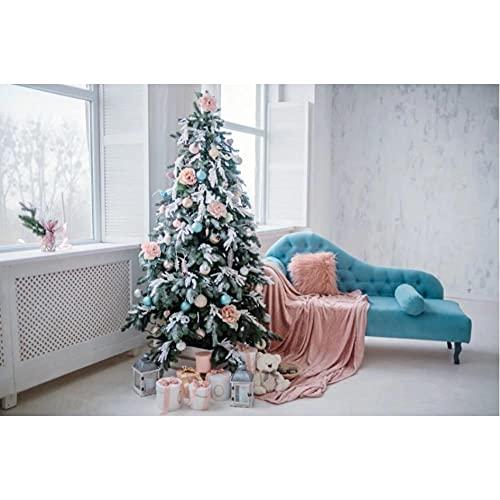 Interior sesión fotográfica árbol de Navidad sofá Azul Alfombra Rosa Guirnalda Juguete muñeca Regalo Ventana fotografía telón de Fondo estudio-250x180cm