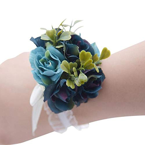 Houer Flor de muñeca de Mano Pulsera de Ramillete de Flores de muñeca Pulsera de Dama de Honor Flores de Ramillete de Mano Prom, Estilo 5