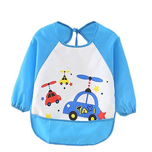 Grembiulino impermeabile per bambini, unisex, con maniche lunghe e allacciatura sulla schiena, per dipingere, giocare e mangiare, in PEVA