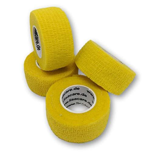 LisaCare Fingerpflaster selbsthaftend - elastisches, wasserfestes, staub- fett- und schmutzabweisendes Pflaster - GELB - 4 Rollen á 2,5cm x 4,5m