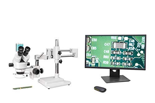 OPTEK Mikroskop für Schüler Auflicht Durchlicht USB Kamera Monokular Kreuztisch LED Beleuchtung Kabellose Bedienung Zubehör Transportkoffer I SZM7045T-STL2