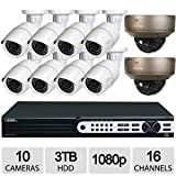 Q-See QT8316-10R6-3 16CH 10CAM 1080p NVR Security System