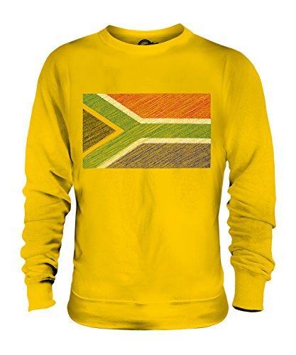 Candymix - Sudáfrica Scribble Flag - Sudadera unisex para hombre y mujer Amarillo Amarillo Profundo XL
