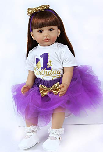 ZIYIUI 24 Pulgadas Reborn Baby Dolls Vinilo Suave Silicona Simulación 60cm Reborn Babies Realista Niña Niño Juguetes Juguetes Use un Vestido Morado