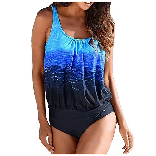 Bañadores Mujer Casual con Estampado de Dos Piezas Tankini con Correas Ajustables para Mujer Traje de Baño Verano Mujer con Relleno Retirable Conjunto de Bikinis Ideal para Piscina,Mar,Playa